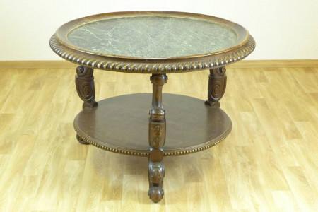 runder tisch mit gr ner steinplatte 20 jh mit ablagefach d 100 cm. Black Bedroom Furniture Sets. Home Design Ideas