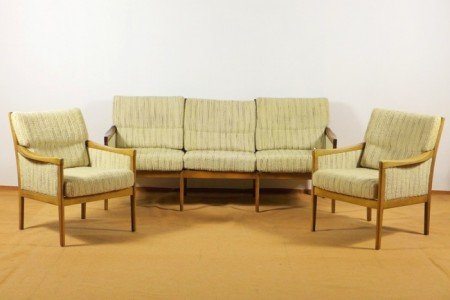 3 sitzer sofa und 2 sessel d nisches design 1960er jahre. Black Bedroom Furniture Sets. Home Design Ideas