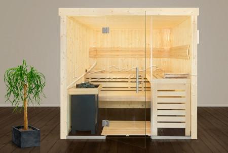 Design Sauna Nora mit Glasfront, Fichte, 211 x 211 cm