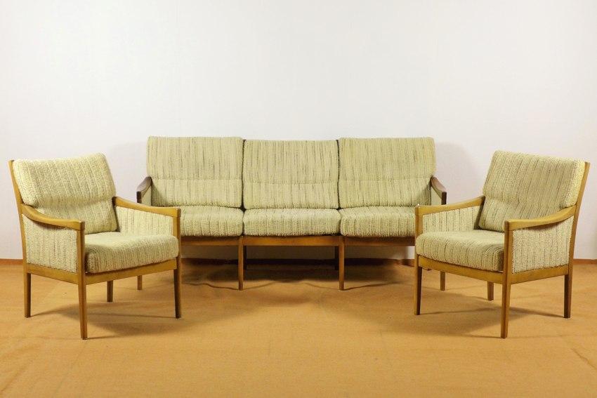 3 Sitzer Sofa Und 2 Sessel, Dänisches Design 1960er Jahre, Buche,  Skandinavien