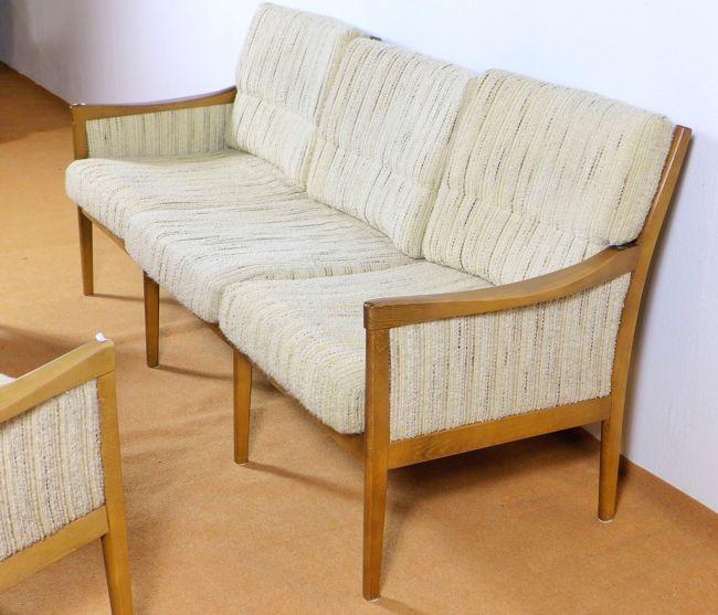 3 sitzer sofa und 2 sessel d nisches design 1960er jahre buche skandinavien. Black Bedroom Furniture Sets. Home Design Ideas