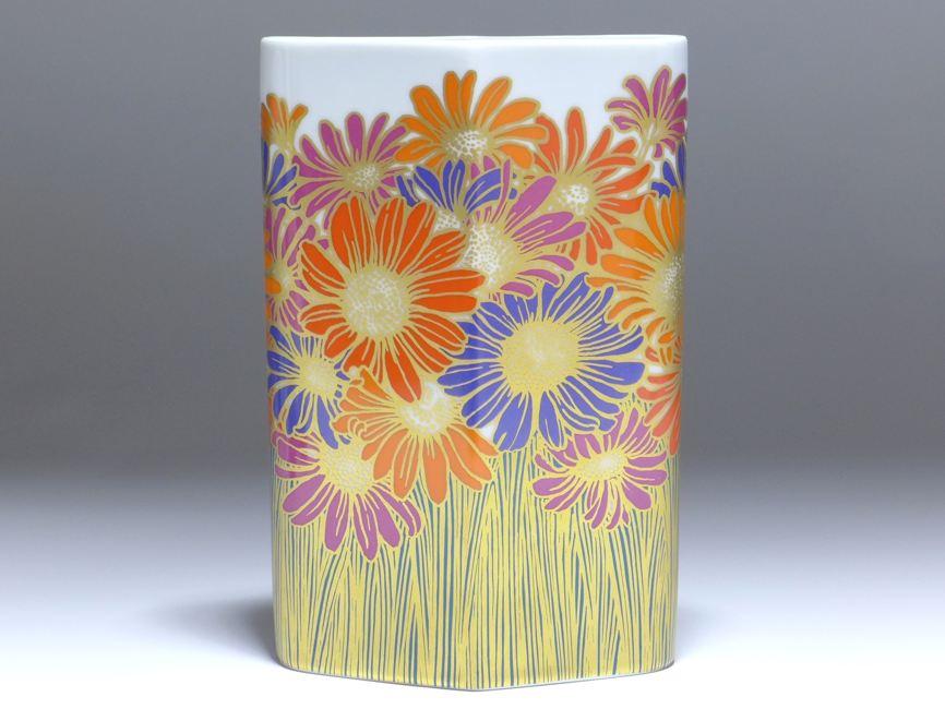 Rosenthal Studio Linie Vase Oval Entwurf Rosemonde Nairae Dekor