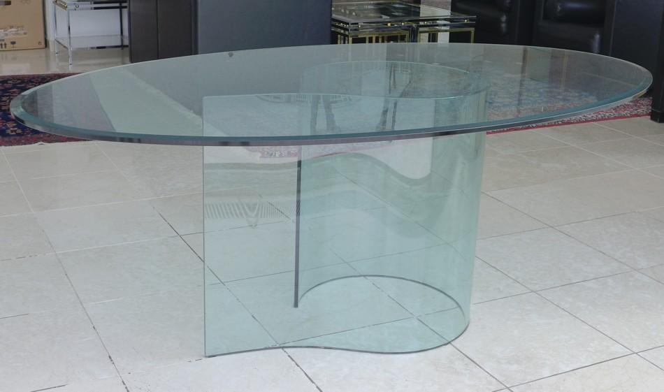 glastisch oval esstisch bartoli design fiam italy. Black Bedroom Furniture Sets. Home Design Ideas