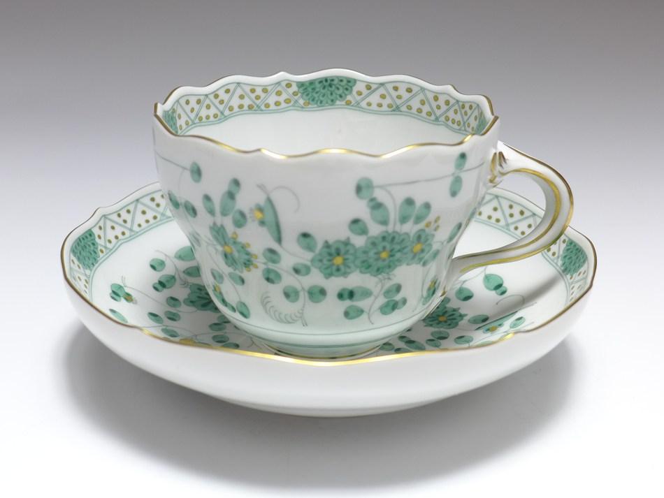 Meissen Neuer Ausschnitt indisch grün Kaffeetasse 2tlg