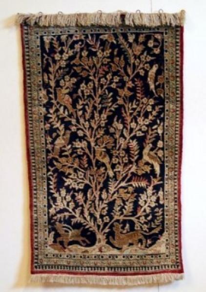 Teppich, Ghom, Persien, Seide, 92×58 cm