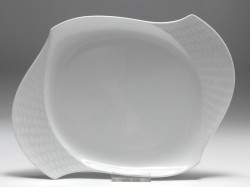 plate, Meissen, waves relief white, 25,5x18 cm