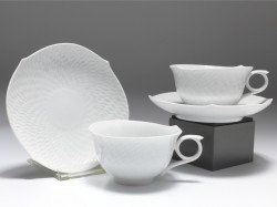 Set 2x Teetasse, Meissen, Wellenspiel Relief weiß