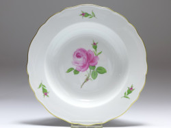 Suppenteller, Rote Rose, Meissen, D: 23 cm