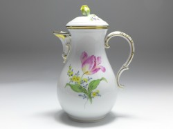 coffee pot, flower painting 2 - tulip, anemone, Meissen, 1st quality, V: 1,2 l.