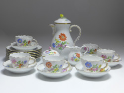 coffee service, 15pieces, Meissen, flower painting 4