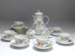 coffee service, 15pieces, Meissen, flower painting 4 diagonal