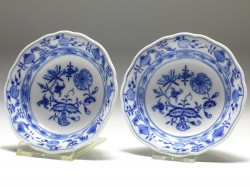 2x bowl, Meissen, blue onion, D: 12,5 cm
