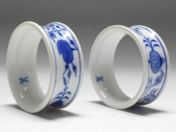 2x napkin-ring, Meissen, blue onion, D: 6 cm