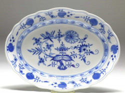 meat-dish, blue onion, Meissen, 30x22,5 cm