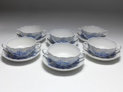 6x soup-cup with saucer, blue onion, Meissen, V: 0,35 l.