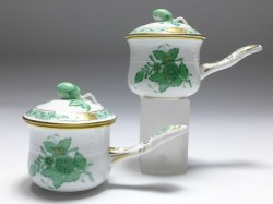 2x cup with lid, Herend porcelain, floral decor Apponyi vert AV