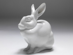figure hare, Herend, white glazed, h: 13,5 cm