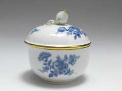 sugar box, Aquatinta - flowerbukett, Meissen, 1st quality, H: 9 cm