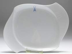 plate, crossed swords, waves pur, Meissen, 25,5x18 cm